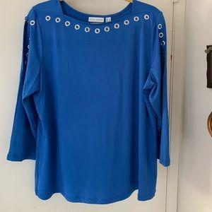 Susan Graver Butterknit 3/4 Spilt Sleeve Top (new)